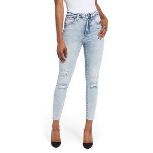 Good American Good Waist Ripped Crop Skinny Jeans